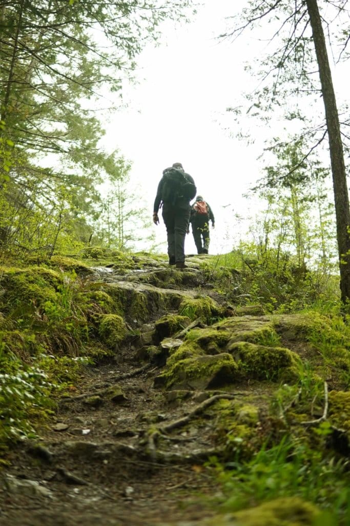 Two people hiking a rocky forest Trail
